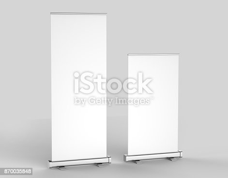 istock White blank empty high resolution Business 3'6' Roll Up and Standee Banner display mock up Template for your Design Presentation. 3d render illustration. 870035848