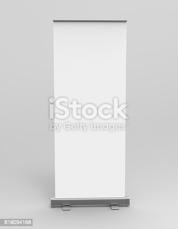 istock White blank empty high resolution Business exhibition Roll Up and  Standee Banner display mock up Template for your Design Presentation. 3d render illustration. 816094168