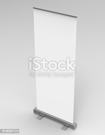 816094246 istock photo White blank empty high resolution Business exhibition Roll Up and  Standee Banner display mock up Template for your Design Presentation. 3d render illustration. 816094174