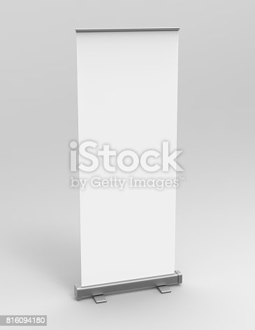 istock White blank empty high resolution Business exhibition Roll Up and  Standee Banner display mock up Template for your Design Presentation. 3d render illustration. 816094180