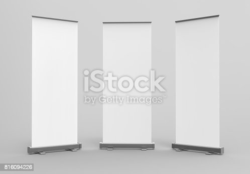 istock White blank empty high resolution Business exhibition Roll Up and  Standee Banner display mock up Template for your Design Presentation. 3d render illustration. 816094226