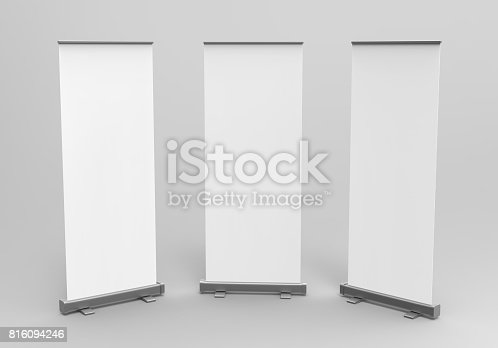 istock White blank empty high resolution Business exhibition Roll Up and  Standee Banner display mock up Template for your Design Presentation. 3d render illustration. 816094246