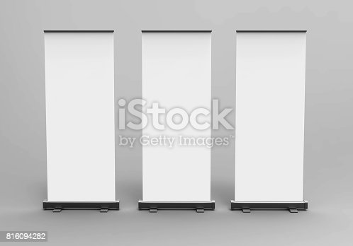 816094246 istock photo White blank empty high resolution Business exhibition Roll Up and  Standee Banner display mock up Template for your Design Presentation. 3d render illustration. 816094282
