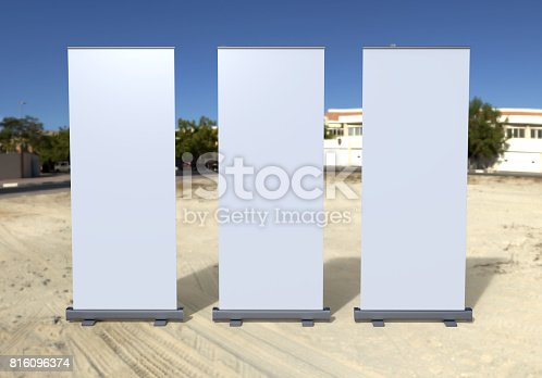 816094246 istock photo White blank empty high resolution Business exhibition Roll Up and  Standee Banner display mock up Template for your Design Presentation. 3d render illustration. 816096374