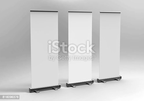 816094246 istock photo White blank empty high resolution Business exhibition Roll Up and  Standee Banner display mock up Template for your Design Presentation. 3d render illustration. 816096376