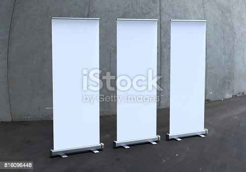 istock White blank empty high resolution Business exhibition Roll Up and  Standee Banner display mock up Template for your Design Presentation. 3d render illustration. 816096448