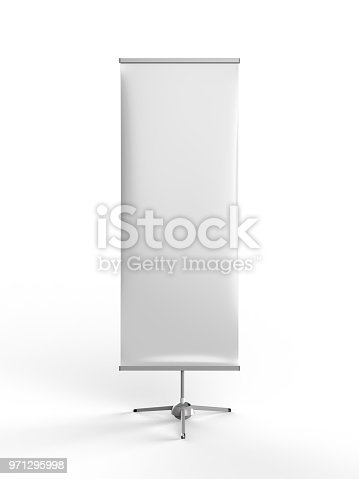 870035890 istock photo White blank empty high resolution Business exhibition Roll Up and Standee Banner display mock up Template for your Design Presentation. 3d render illustration. 971295998