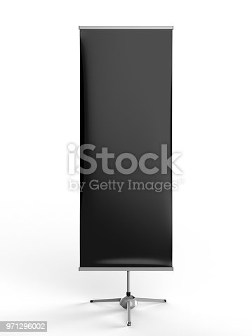870035890 istock photo White blank empty high resolution Business exhibition Roll Up and Standee Banner display mock up Template for your Design Presentation. 3d render illustration. 971296002