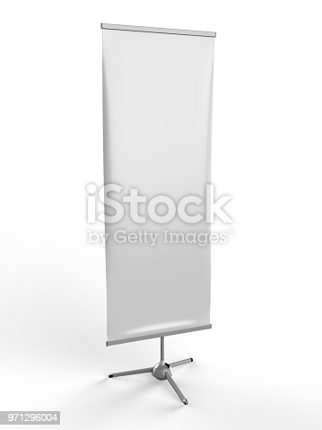 870035890 istock photo White blank empty high resolution Business exhibition Roll Up and Standee Banner display mock up Template for your Design Presentation. 3d render illustration. 971296004