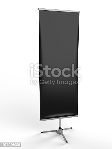 870035890 istock photo White blank empty high resolution Business exhibition Roll Up and Standee Banner display mock up Template for your Design Presentation. 3d render illustration. 971296006