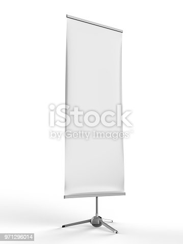 870035890 istock photo White blank empty high resolution Business exhibition Roll Up and Standee Banner display mock up Template for your Design Presentation. 3d render illustration. 971296014