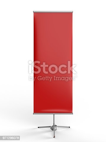 870035890 istock photo White blank empty high resolution Business exhibition Roll Up and Standee Banner display mock up Template for your Design Presentation. 3d render illustration. 971296078