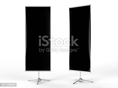 870035890 istock photo White blank empty high resolution Business exhibition Roll Up and Standee Banner display mock up Template for your Design Presentation. 3d render illustration. 971296082