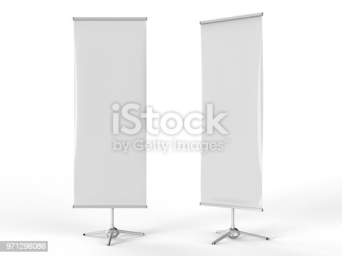 816094246 istock photo White blank empty high resolution Business exhibition Roll Up and Standee Banner display mock up Template for your Design Presentation. 3d render illustration. 971296086