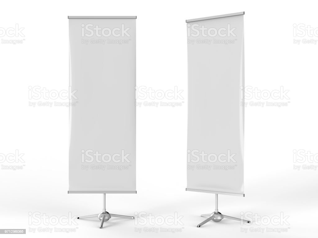 White blank empty high resolution Business exhibition Roll Up and Standee Banner display mock up Template for your Design Presentation. 3d render illustration. stock photo