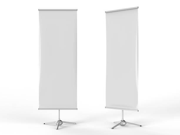 weiße leere leere hochauflösende business roll up und ac banner ausstellungsdisplay mock-up vorlage für ihre design-präsentation. 3d render-illustration. - spruchband stock-fotos und bilder
