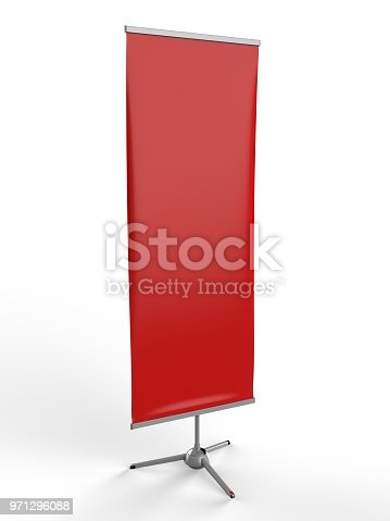 870035890 istock photo White blank empty high resolution Business exhibition Roll Up and Standee Banner display mock up Template for your Design Presentation. 3d render illustration. 971296088