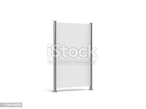 istock White blank empty high resolution Business roll up and standee banner display mock up template for your design presentation, 3d illustration 1156444934