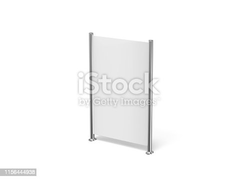 istock White blank empty high resolution Business roll up and standee banner display mock up template for your design presentation, 3d illustration 1156444938