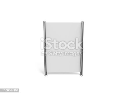 istock White blank empty high resolution Business roll up and standee banner display mock up template for your design presentation, 3d illustration 1156444994