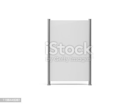 istock White blank empty high resolution Business roll up and standee banner display mock up template for your design presentation, 3d illustration 1156445061