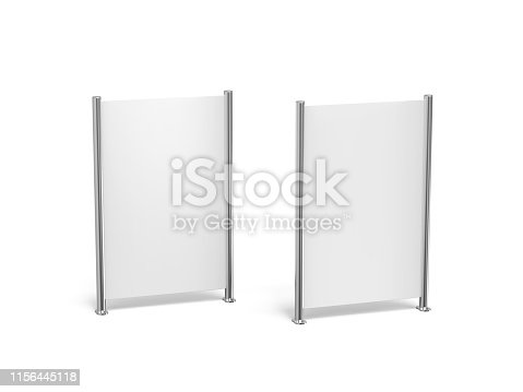 istock White blank empty high resolution Business roll up and standee banner display mock up template for your design presentation, 3d illustration 1156445118