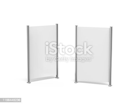 istock White blank empty high resolution Business roll up and standee banner display mock up template for your design presentation, 3d illustration 1156445236