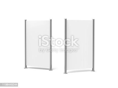 istock White blank empty high resolution Business roll up and standee banner display mock up template for your design presentation, 3d illustration 1156445244