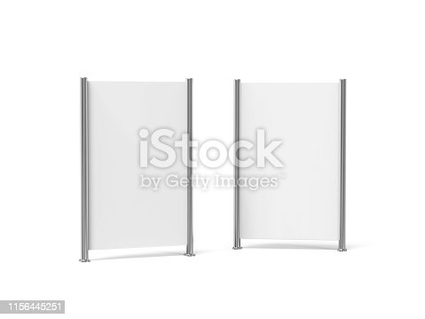 istock White blank empty high resolution Business roll up and standee banner display mock up template for your design presentation, 3d illustration 1156445251