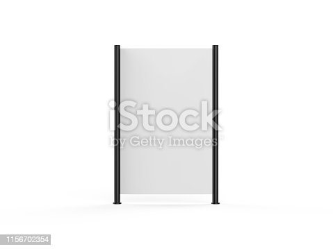 istock White blank empty high resolution Business roll up and standee banner display mock up template for your design presentation, 3d illustration 1156702354