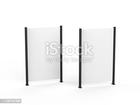 istock White blank empty high resolution Business roll up and standee banner display mock up template for your design presentation, 3d illustration 1156702369