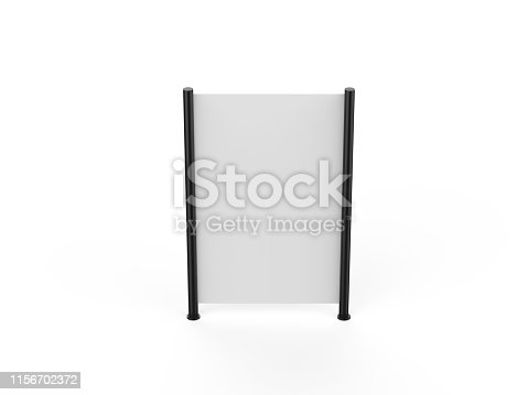 istock White blank empty high resolution Business roll up and standee banner display mock up template for your design presentation, 3d illustration 1156702372