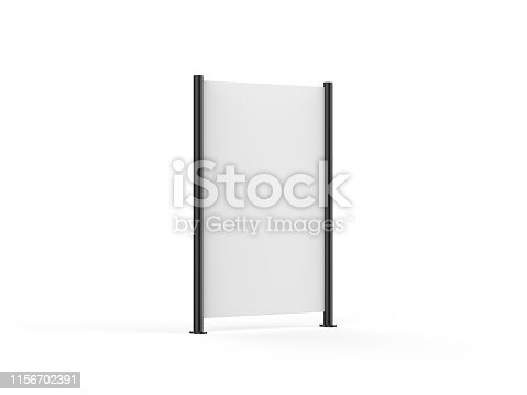 istock White blank empty high resolution Business roll up and standee banner display mock up template for your design presentation, 3d illustration 1156702391