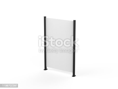 istock White blank empty high resolution Business roll up and standee banner display mock up template for your design presentation, 3d illustration 1156702397