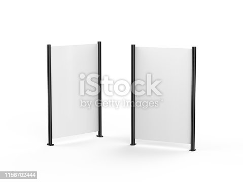 istock White blank empty high resolution Business roll up and standee banner display mock up template for your design presentation, 3d illustration 1156702444