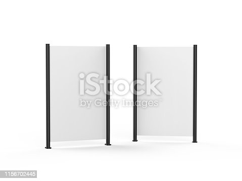 istock White blank empty high resolution Business roll up and standee banner display mock up template for your design presentation, 3d illustration 1156702445