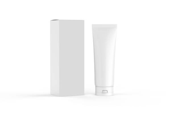 White blank glossy tube for cosmetics cream, gel, skin care, toothpaste, shampoo and medicine, mock up template on isolated white background, 3d illustration Box - Container, Make-Up, Beauty Product, Beauty Spa, Container tube stock pictures, royalty-free photos & images