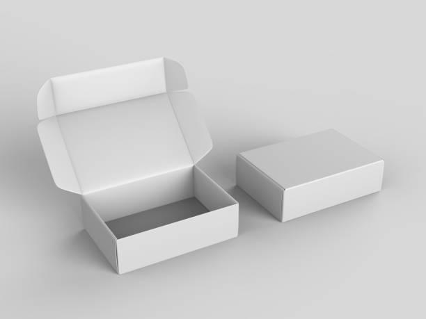 white blank hard cardboard gift or mailer box mock up template, 3d illustration. - contenitore foto e immagini stock