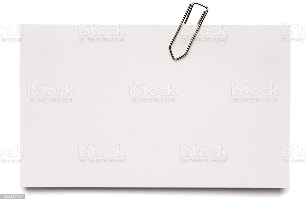White blank index card isolated on white royalty-free stock photo
