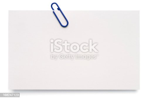 A blank index card with a paper clip, isolated on white.