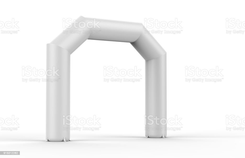 White Blank Inflatable angular Arch Tube or Event Entrance Gate. 3d render illustration. stock photo