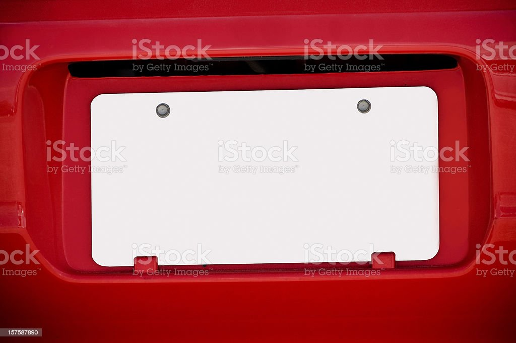 White Blank License Plate on Red Car stock photo