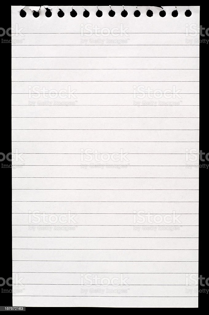 White blank lined note paper isolated on black background royalty-free stock photo