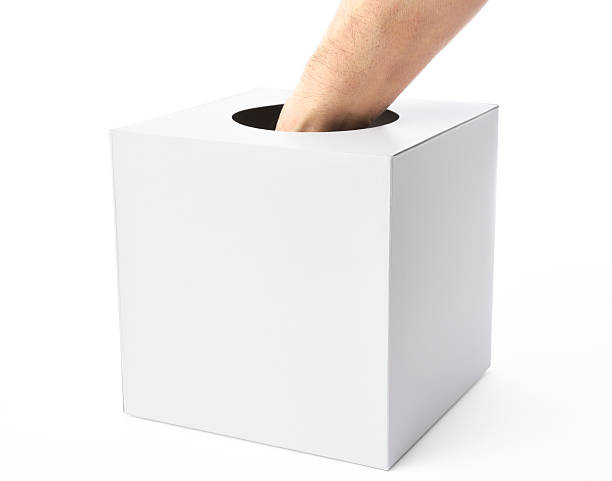 White blank lottery box with hand on white background The hand which pulls a lottery isolated on white background with clipping path. game of chance stock pictures, royalty-free photos & images