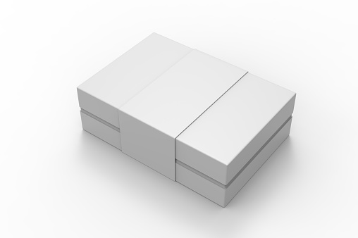 White blank luxury rigid box with inner foxing for branding presentation, 3d illustration.