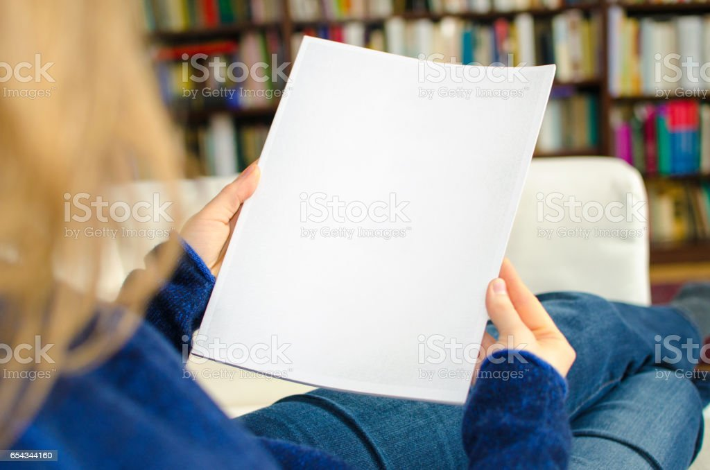 White blank magazine page with copy space stock photo