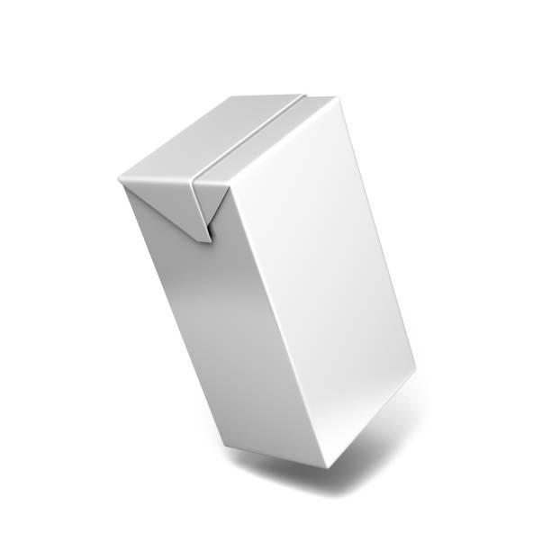 Paquets de carton tetra blanc blanc lait et jus. Carton propre vide pour la nouvelle conception. Maquette 3D illustration pack blanc. Modèle réaliste. - Photo