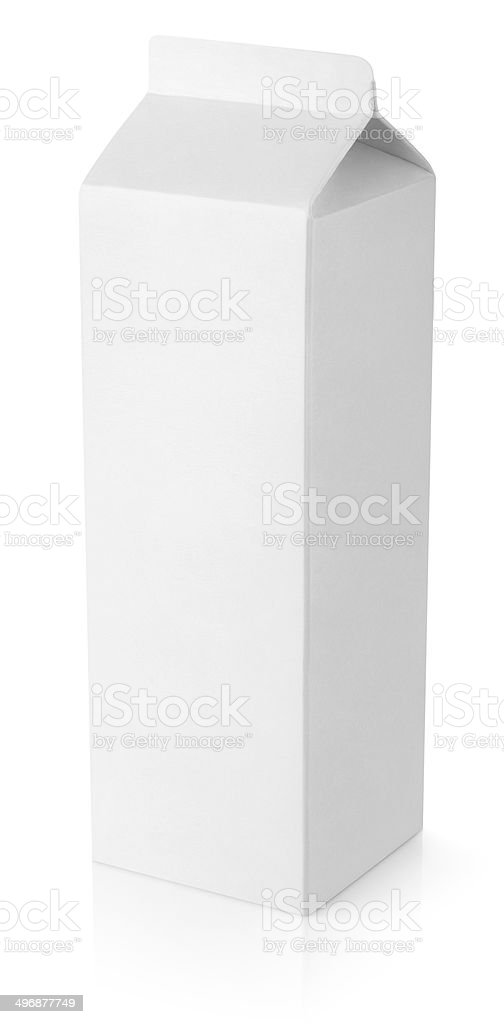 Pacote branco em branco Embalagem cartonada de leite - foto de acervo