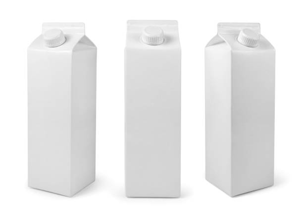 white blank milk or juice package isolated on white with clipping path - packaging foto e immagini stock