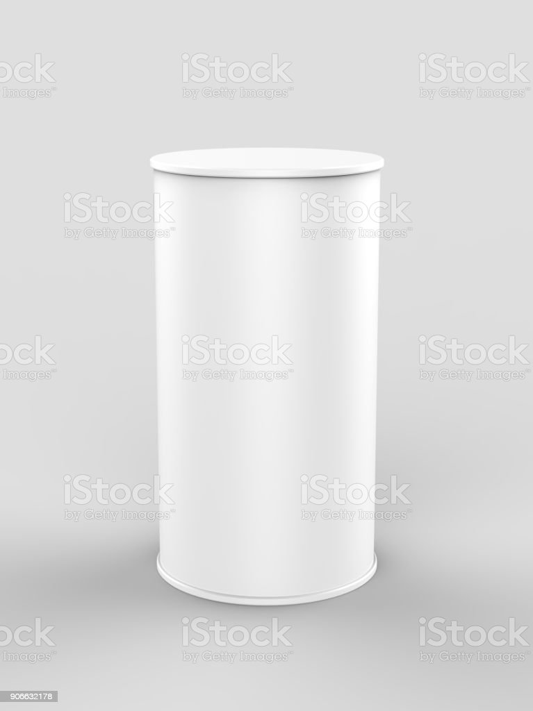 White blank mini pop up exhibition counter. 3d render illustration. stock photo